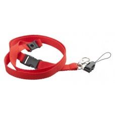 Lanyard din poliester, cu carabina detasabila din metal, cu snur pentru tefon mobil.