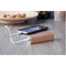Baterie externa cu carcasa din lemn, cu cablu USB, 2200 mAh.