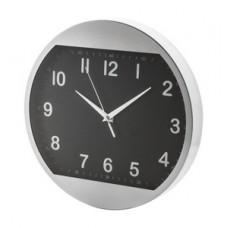 Ceas de perete din aluminiu. Cadran alb, numere negre. Functioneaza cu o baterie AA. Se livraeaza fara baterie.