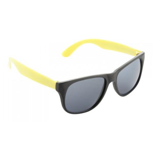 ochelari de soare Glaze personalizate Ochelari de soare din plastic, rama neagra cu finisaj mat, brate colorate, protectie UV 400.